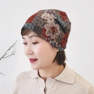 플라워 가을 겨울 큐빅 여성 두건 비니 모자