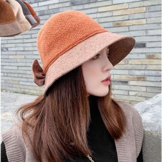 은창]러블리 리본 니트 기모 모자 보온 가을 겨울 여성 여성 벙거지 모자 히트 선물 단체 사은품 햇 챙 사