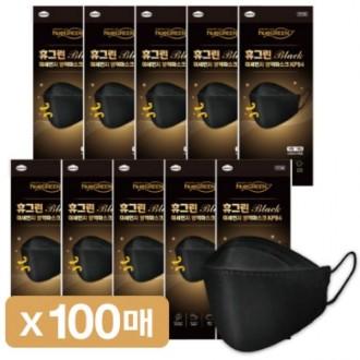 KF94 황사마스크 휴그린 100매 개별포장 식약처인증 마스크 블랙 대형