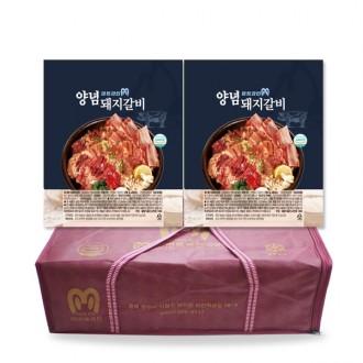 미트라인 양념돼지갈비 선물세트 3kg 2팩 무배 LA갈비