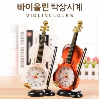 바이올린 탁상시계/클래식/기타/바이올린/인테리어 소품/알람/엔틱/시계/악기시계