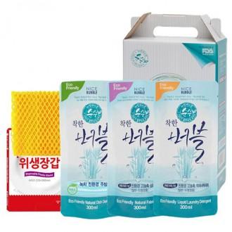 [버블세트5종] 특판용 사은품 300ml X 3개+비닐장갑세트+망사수세미 (박스포함) 친환경세제 BB