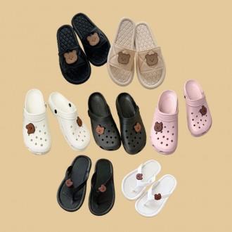 곰돌이 슬리퍼 쪼리 크록샌들 3종 / 귀엽고 편한 신발