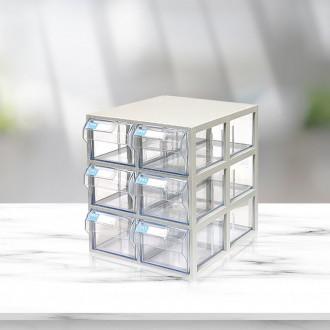 (602)수납함 가로2칸 세로3칸/투명 수납정리함 서랍장