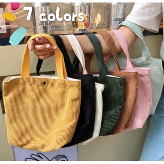 패턴 코듀로이 미니에코백 손가방 런치백 간식가방 미니백 에코백 핸드폰가방 도시락 손목가방