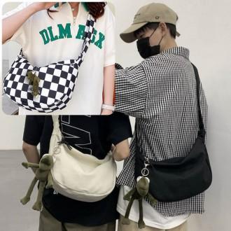 반달 모양 크로스백 슬링 캔버스 캐주얼 파우치 가방
