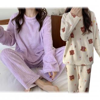 여성 수면 잠옷 상하세트 줄무늬 겨울 극세사 밍크 기모 긴팔 홈웨어 파자마 수면잠옷