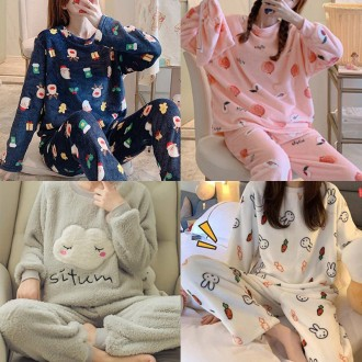[S-XL] 겨울 파자마세트 동물 홈웨어 수면잠옷 극세사 바지 커플 상하세트상품 정말부드럽고 이뻐요