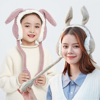 토끼귀마개 움직이는귀마개 인싸템 양털 방한 귀도리