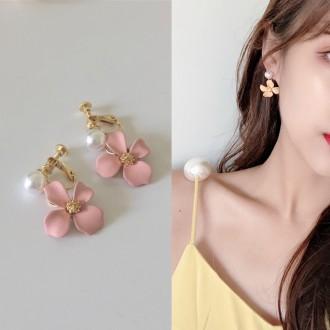 [도매하우스](실버925)무광 꽃 귀걸이/귀찌