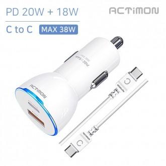 [후니케이스]액티몬36W 고속 차량용충전기 USB2구 PD 18W + QC 3.0 CtoC CABLE