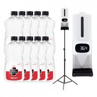 K9-PRO Plus 자동온도측정 손소독기(전용스탠드 포함) 에브링스 자동발열체크 전용손소독액1000ml 옵션