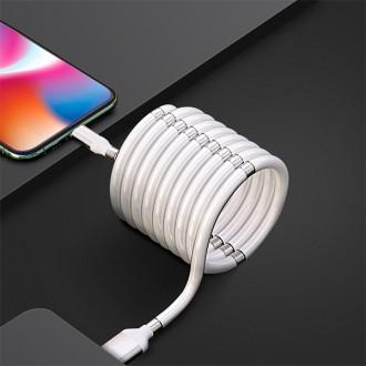마그네틱 줄꼬임방지케이블 슈퍼캘라 자석 선정리 고속충전 데이터전송 USB 8핀 C타입 5핀 도르케이블