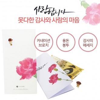 카네이션 브로치 용돈봉투/ 브로치+돈봉투/ 꽃배찌