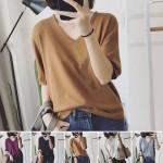 여성 여자 반팔티 반팔 티 티셔츠 브이넥 니트