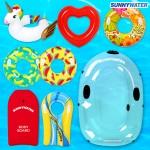 써니워터 인텍스 어린이 캐릭터 튜브 유니콘/바디보드/보트 아동 투명 스노쿨 원형 물놀이 수영