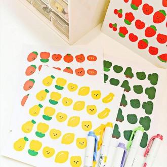 알록달록 4색 과일야채 스티커 / 캐릭터 데코 인스 다이어리 꾸미기 다꾸페 만들기