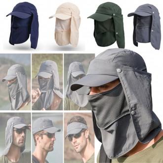 6단 정글모자 다기능 햇빛가리개 모자부착 자외선차단 패션모자 마스크모자 낚시모자 등산 코로나예방 썬캡