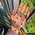 반투명 비즈 구슬 꽃 플라워 삐삐 반지