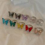 반투명 클리어 나비 영롱 반지 10color