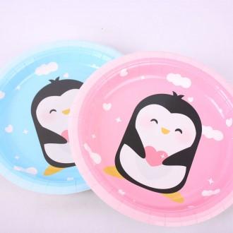 캐릭터 파티 하니 칼라 종이접시 23cm 5매 031 핑크 캠핑 친환경적인 일회용