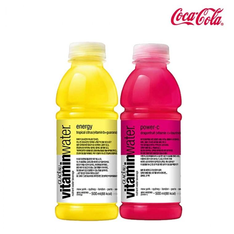 D 글라소 비타민워터 파워씨&에너지 500ml X 각6개(총12개) 비타민워터 에너지드링크 편의점음료 비타파워