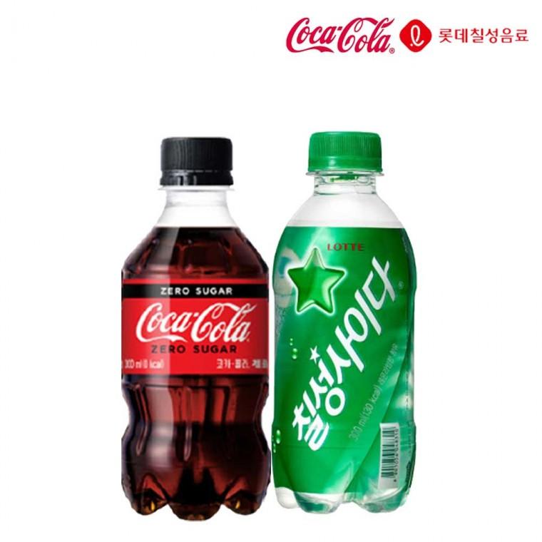 D 코카콜라제로&칠성사이다 300ml X 각12개(총24개) 탄산음료 청량음료 미니펫 미니탄산 편의점 음료수