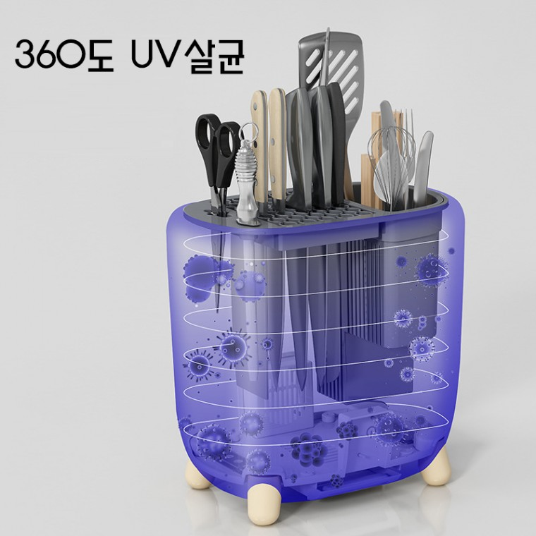 [해외]D 주방 살균소독통 수저 조리기구 소독기계 선반 수저 수납통 건조기