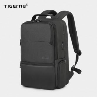 TIGERNU 남성 비즈니스 전용가방 신축가능 대용량 백팩 출장 여행 추천가방 USB충전