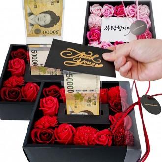 용돈 상자 플라워 박스 어버이날 생신 선물 비누꽃 돈 돈티슈 반전 환갑 부모님 카네이션 현금