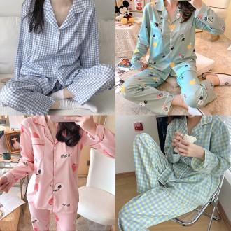 여자 여성 2021 신상 봄 잠옷 원피스 캐릭터 파자마 홈웨어