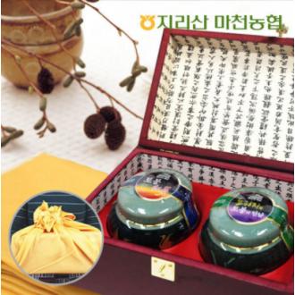 지리산 도자기꿀 선물세트(토봉plus홍삼+도라지토봉) 600g