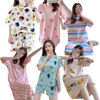 여성 여자 2021 신상 여름 반팔 잠옷 원피스 캐릭터 파자마 홈웨어