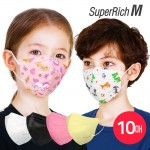 슈퍼리치 새부리형 어린이 일회용 마스크 (10매) 유아 아동 3D입체 소형마스크 대용량마스크 패턴 캐릭터